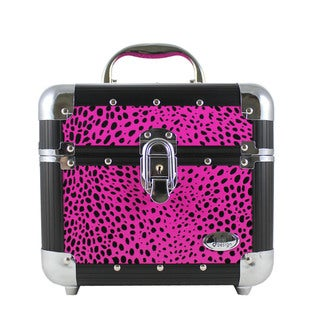 Jacki Design Pink Cheetah Print Train Case