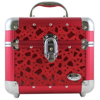 Jacki Design Red Sleek and Shiny Train Case