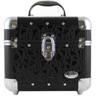 Jacki Design Black Sleek and Shiny Train Case