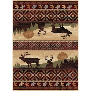 Natural 106595 Lodge Red Area Rug (7'10 x 10'3)