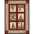 Natural 6580 Lodge Red Area Rug (5'3 x 7'3)