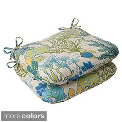 Pillow Perfect 'Splish Splash' Outdoor Rounded Seat Cushions (Set of 2)