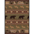 Natural 106588 Lodge Green Area Rug (5'3 x 7'3)