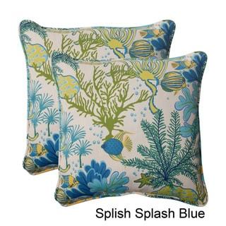 Pillow Perfect 'Splish Splash' Outdoor Square Throw Pillows (Set of 2)