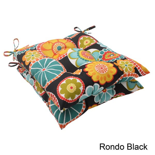 Pillow Perfect 'Rondo' Outdoor Tufted Seat Cushions (Set of 2)