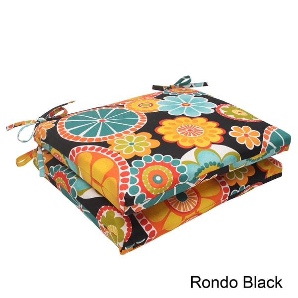 Pillow Perfect 'Rondo' Outdoor Squared Seat Cushions (Set of 2)