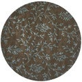 Handmade Tranquility Brown New Zealand Wool Rug (6' Round)