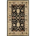 Handmade Kerman Black/ Ivory Gold Wool Rug (3' x 5')