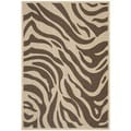 Poolside Geometric Cream/ Chocolate Indoor/ Outdoor Rug (6'7 x 9'6)