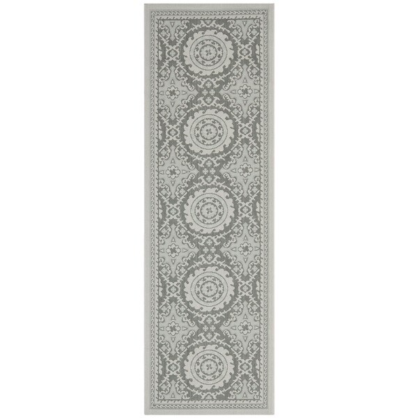 Safavieh Poolside Light Grey/ Anthracite Indoor Outdoor Rug (2'7x 8'2)
