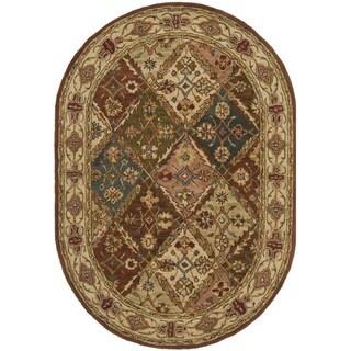 Safavieh Handmade Diamonds Bakhtiari Beige Wool Rug (4'6 x 6'6 Oval)