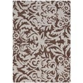 Hand-hooked Chelsea Damask Brown Wool Rug (1'8 x 2'6)