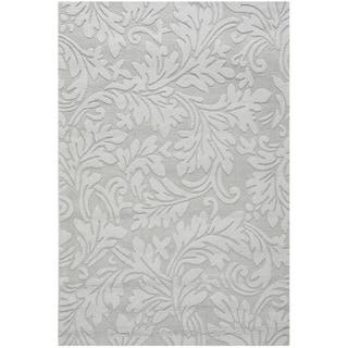 Handmade Fern Scrolls Grey New Zealand Wool Rug (3' x 5')