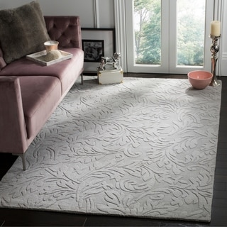 Handmade Fern Scrolls Grey New Zealand Wool Rug (7'6 x 9'6)