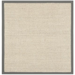 Hand-woven Resorts Natural/ Grey Fine Sisal Rug (6' Square)