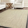 Hand-woven Resorts Natural/ Grey Fine Sisal Rug (8' Square)