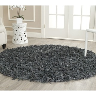 Safavieh Handmade Metro Grey Leather Shag Rug (6' Round)