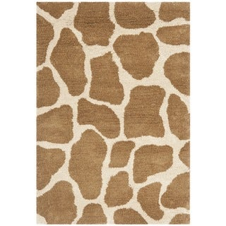 Handmade Giraffe Beige New Zealand Wool Rug (2' x 3')