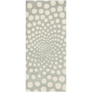 Handmade Soho Grey/ Ivory New Zealand Wool Rug (2'6 x 6')