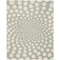 Handmade Soho Grey/ Ivory New Zealand Wool Rug (7'6 x 9'6)