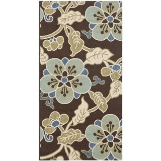 Safavieh Veranda Piled Chocolate/ Aqua Green Brown Rug (2'7 x 5')
