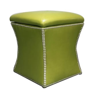 Colby Avocado Bonded Leather Storage Ottoman