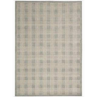 Kailash Light Grey Plaid Print Rug (5'3 x 7'5)
