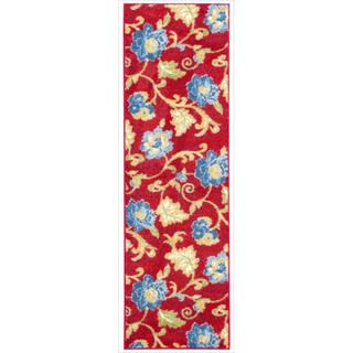 Waverly Aura Flora Lipstick Red Runner Rug (2'3 x 7'6)