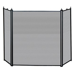 Uniflame 3-Fold Black Fireplace Screen