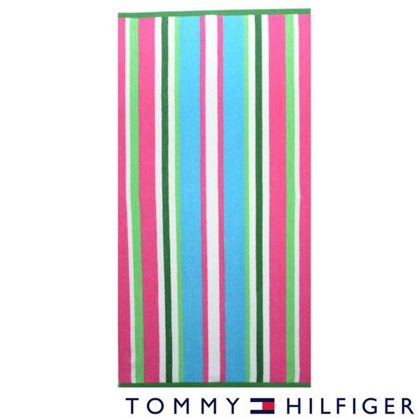 Tommy Hilfiger Fun Stripe Pink Cotton Beach Towel