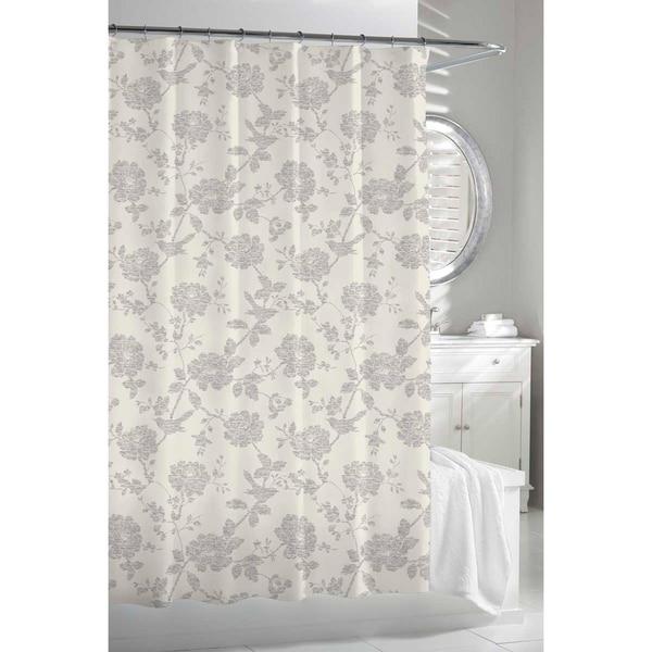 Garden Birds Beige Grey Shower Curtain