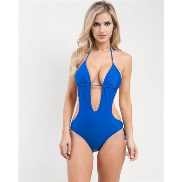 Stanzino Women's Blue Plunging Halter Monokini Swimsuit