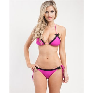 Stanzino Women's Magenta Lace Trim String Bikini Set
