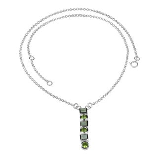 Sterling Silver Round Peridot and Square Moonstone Necklace (Thailand)