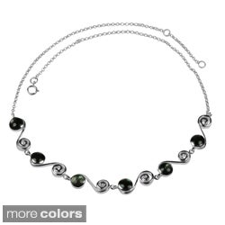 Sterling Silver Elegant Round Mother of Pearl Necklace (Thailand)