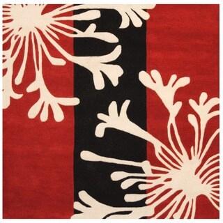 Herat Oriental Indo Hand-tufted Tibetan Red/ Ivory Wool Area Rug (6' x 6')