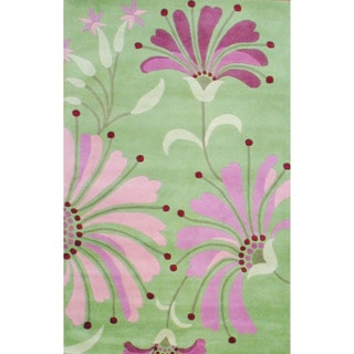 Herat Oriental Indo Hand-tufted Light Green/ Pink Wool Rug (5' x 8')