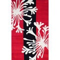 Indo Hand-tufted Red/ Ivory Wool Rug (5' x 8')
