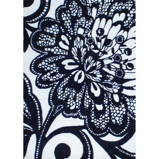 Indo Hand-tufted Black/ Ivory Wool Rug (4'9'' x 6'9'')