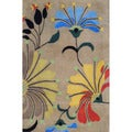 Indo Hand-tufted Beige/ Light Blue Wool Rug (4' x 6')
