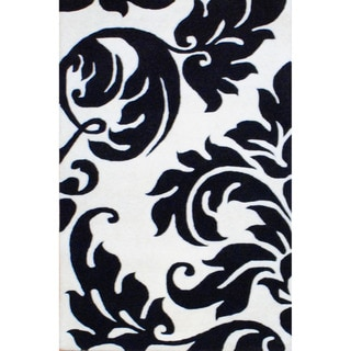 Indo Hand-Tufted Ivory/Black Wool Area Rug (4' x 6')