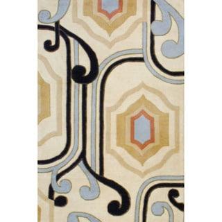 Indo Hand-tufted Ivory/ Black Wool Rug (4' x 6')