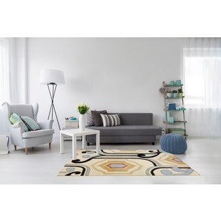 Indo Hand-tufted Ivory/ Black Wool Rug (4' x 6')
