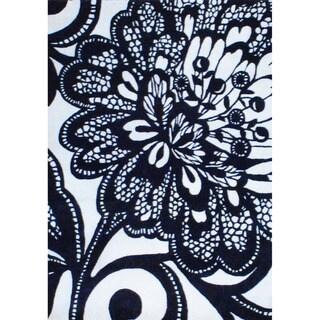 Indo Hand-tufted Black/ Ivory Wool Rug (3'6'' x 5')