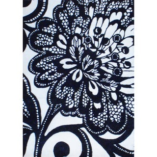 Indo Hand-tufted Black/ Ivory Wool Rug (4' x 5'9'')