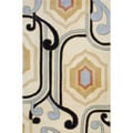 Indo Hand-Tufted Ivory/Black Geometric Wool Rug (5' x 8')