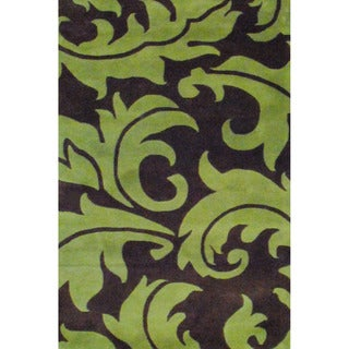 Indo Hand-tufted Brown/ Light Green Wool Rug (5' x 8')