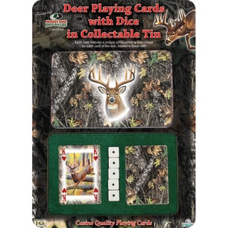 Rivers Edge Products 2-Pack Playing Cards and Dice Mossy Oak Deer Gift Tin