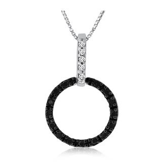 Sterling Silver 1/10ct TDW Black and White Diamond Necklace (H-I, I1-I2)