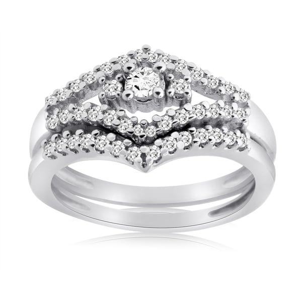 10k White Gold 1/2ct TDW Diamond Bridal Ring Set (H-I, I1-I2)